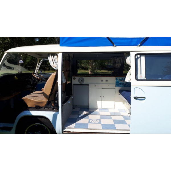 1975 Bay RHD VW T2 with pop top, awning and roof rack