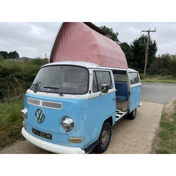 1972 Dormobile T2 VW Camper Van - Crossover Lowlight Bay ** Ready to Camp ** genuine uk rhd. manual gearbox. our daily driver. Genuine End of Season Bargain!!