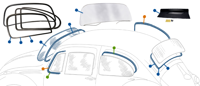 Deluxe Chrome Trim for VW Beetle Screen Rubbers