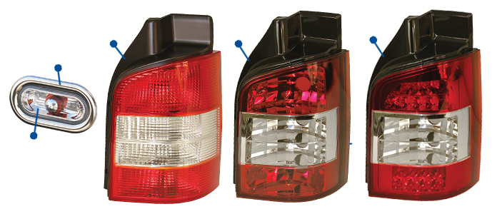 363 vw t5 & t6 rear lights, side markers & number plate lights just vw t5 fog light wiring diagram at gsmx.co