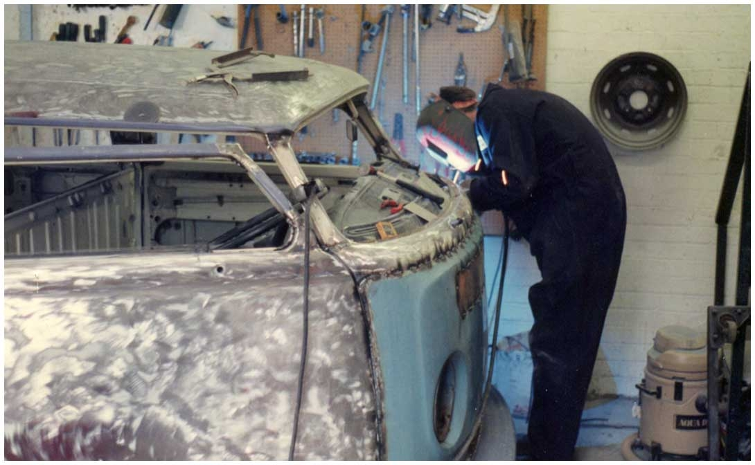 """Pete welding a front panel onto the JK chopped crewcab """"You couldn't buy them in those days so we just took one from an early bay and welded it in!"""""""