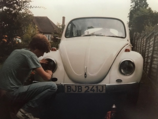 Age 17 working on his first beetle.