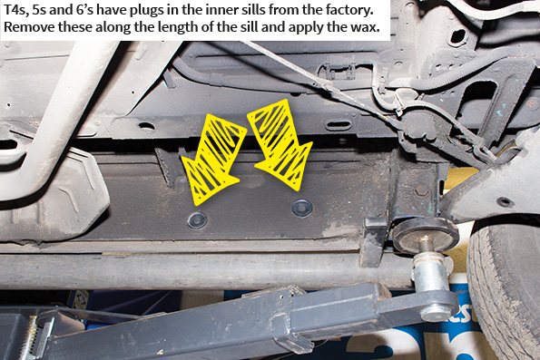 4s, 5s and 6's have plugs in the inner sills from the factory. Remove these along the length of the sill and apply the wax.