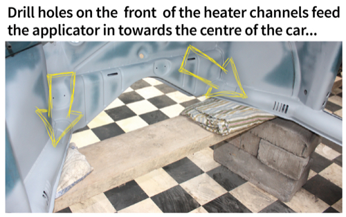 Drill holes on the front of the heater channels feed the applicator in towards the centre of the car...