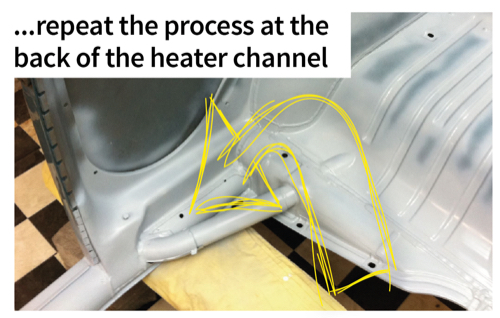...repeat the process at the back of the heater channel